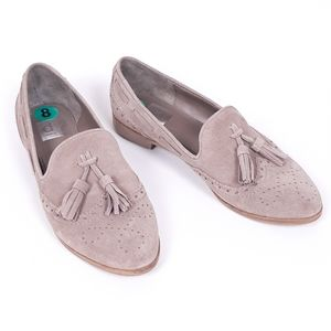 DV Dolce Vita taupe suede flat tassel loafers